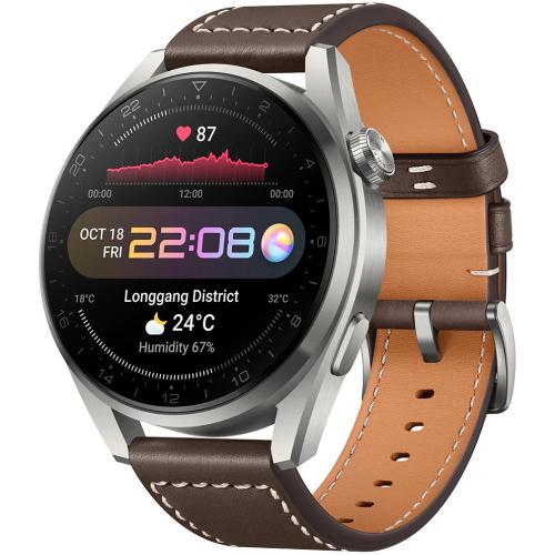 Huawei Watch 3 Pro Classic 48mm Titanium (Szürke-Barna Bőrszíj)